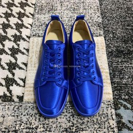 leather lace free shipping Australia - Blue Silk Leather Low Top Sneakers Red Bottom Shoes For Women,Men Famous Brand Lace-up Casual Walking Louisflats Free Shipping EU35-47