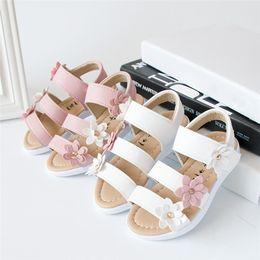 Flower Shoes Kids NZ - Summer Girls Sandals Kids Children Sandals Fashion Big Flower Girls Flat Bordered Pricness Shoes NDA84L24