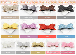 $enCountryForm.capitalKeyWord NZ - Modish Girls Free Shipping Glitter 2016 Bestseller Glitter Felt Bow Hair Clips Bowknot Girls Baby Pink Barrettes Synthetic Leather Hairpins