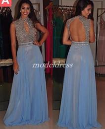 Blue Hollow Australia - Light Sky Blue Crystal Prom Dresses 2019 Hollow Back Floor Length Major Beading Long Formal Evening Party Gowns robes de soirée Plus Size