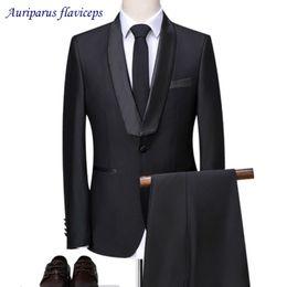 $enCountryForm.capitalKeyWord NZ - New Brand Black Shawl Satin Lapel Groom Tuxedos One Button Men Suits Wedding Prom Suit Best Man Suit (Jacket+Pant)