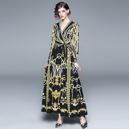 European and American style women s 2019 spring new large dress long skirt  V-neck long-sleeved Baroque printed lace dress 632f3246b0a3