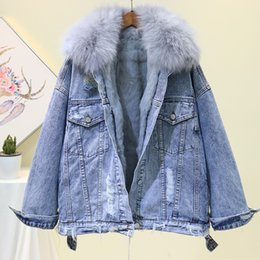 short hair rabbit UK - 2019 Winter Thickened Rabbit Hair Inner Liner Parka Coat Womens Fox Hair Collar Cowboy Jacket Outerwear Ladies Loose Warm Coats T191023