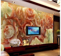 $enCountryForm.capitalKeyWord Australia - custom size 3d photo wallpaper living room mural Chinese style jade carving flower picture sofa TV backdrop wallpaper non-woven wall sticker