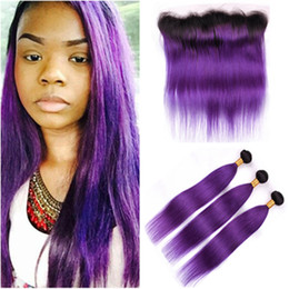 $enCountryForm.capitalKeyWord Australia - Purple Ombre Human Hair 3Bundles Dark Roots with Frontal Straight #1B Purple Ombre Malaysian Virgin Hair Weaves with 13x4 Full Lace Frontal