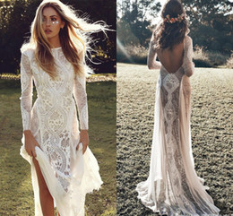 $enCountryForm.capitalKeyWord NZ - New Exquisite Lace Long Sleeve Backless Wedding Dress 2019 Boho Chic Wedding Dresses Bridal Gowns robe de mariage