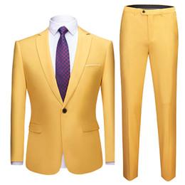 Wedding Casual Suits For Mens NZ - Yellow Slim Fit Single Button Suit Men Party Wedding Prom Mens Suits Formal Business Casual 2 Pieces Suit (Jacket+Pants) for Men