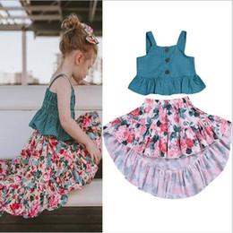 019b718d1 2019 Trajes de liga para niñas Trajes 2pcs Conjunto blusa de lunares + Falda  floral Conjunto de ropa Trajes de bebé Trajes para niños Ropa de diseño