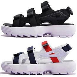Vente en gros FILA Luxe Original hommes femmes chaussures de plage Sandales d'été noir blanc rouge Anti-glisse pantoufles d'extérieur à séchage rapide Soft Water Shoe 36-44