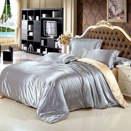 $enCountryForm.capitalKeyWord Australia - Top grade Solid Color Silk Satin luxury bedding set King queen size bed sheet  duvet cover   pillowcase 4pcs  set Double color Home textile