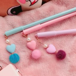 stationery Australia - 24 pcs Lot Pink heart pendant gel pen 0. Black color ink pens for writing Stationery item Office tools school supplies