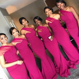ff6b0bb990553 Robe nigeRian online shopping - African Nigerian Satin Fuchsia Bridesmaid  Dresses Long One Shoulder Floor Length
