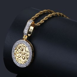 bullion chain NZ - 18K Gold & White Gold Plated Cubic Zirconia Round Gold Bullion Pendant Chain Necklace 24 inch Hip Hop Punk Rock Rapper Jewelry Gifts for Guy