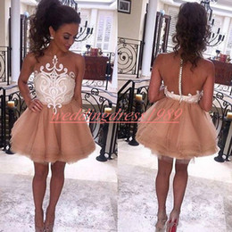 White dress prom online shopping - Elegant Mini Short Prom Dresses Sexy Illusion Bodice Lace Plus Size Formal Party Robe De Soiree African Tulle A Line Evening Gowns