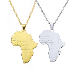 $enCountryForm.capitalKeyWord Australia - ZRM Fashion Hip Hop Charm African Jewelry Women Men Gift Trendy Africa Map Pendant Necklace 30mm*37mm