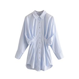 Wholesale white batwing blouse for sale - Group buy Solid Casual Blouse For Women Fashion Batwing Long Sleeve Pleated Shirts Loose Turn Down Collar Office Blouses Top