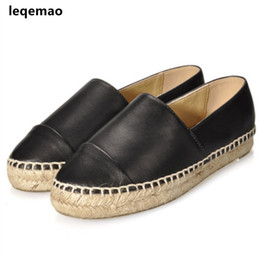 flat shoes size 42 UK - New Fashion Comfortable Seasons Women Espadrilles Shoes Genuine Leather Flats Woman Casual Loafers High Quality Big Size 34-42 Y190704