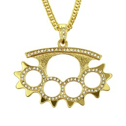 Alloy Gear Australia - Hip Hop alloy point drill Necklace European and American trendy drill gear men hip-hop fashion jewelry wholesale