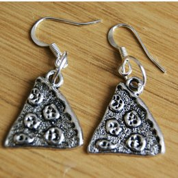 food earrings UK - Fashion- Hot Sell Zinc Alloy Ancient Silver Food Pizza Charm Pendants Drop Earrings DIY Fashion Women Jewelry Holiday Gifts 50Pair Lot