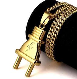 Plug Plate Australia - Novel Plug Pendant Necklace Fashion Design Gold Plated Men Alloy Necklaces Men Fashion Hip Hop Necklaces Jeewelry Party Gift