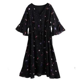 $enCountryForm.capitalKeyWord NZ - Twohexa Summer Flare Half Sleeves Women V-neck Chiffon Print Sexy Dress Female Plus Size 4xl 5xl 6xl 7xl 8xl 9xl 10x C19042001