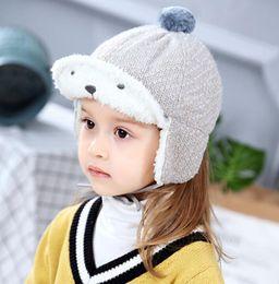 2019 new design winter warm thermal fleece hat for kids chldren fleece ear  muffs beanies cap cute baby girls bonnet outdoor sport beret f87b00338de3