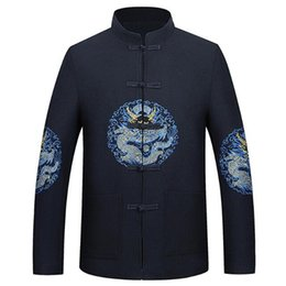 Discount chinese embroidered jackets - High-quality traditional jacket 2008 winter men's Tang wool Chinese dragon embroidered thicker wool jacket