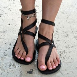sandal sales wholesale Australia - Hot Sale-Women Summer Rome Bohemia Style Sandals Ankle Strap Open Toe Clip Toe Flat Bottom Casual Solid Colors Beach Seaside Walk Shoes