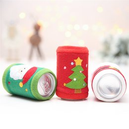Wholesale plush for sale online – ideas Hot Sales Christmas Can Cover Party Plush Wine Bottle Coke Beer Coolers Table Decoration Christmas Decorations for Home