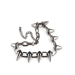 China Punk Goth Studs Spikes Rivets Necklace Pendant Rock Gothic Choker Stainless Steel Chain Necklace Jewelry Women Friendship Gift Party Charms cheap spikes studs chains suppliers