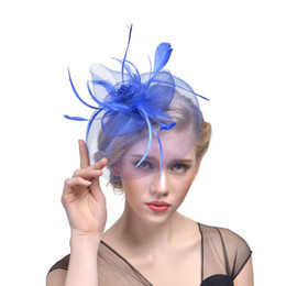 Bridal Wedding Hats Australia - 2019 Bird cage Net Wedding Bridal Fascinator Hats Face Veil Feather black for Masquerade party Prom accessory Free Shipping Hot Sale