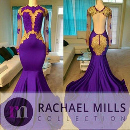 Gold Charm Sexy Girl Australia - Charming Purple Prom Dresses 2019 High Neck African Style Gold Evening Gowns For Black Girls Long Sleeve Sweep Train Formal Dress