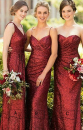 Wholesale Country Bling Burgundy Sequined Cheap Bridesmaid Dresses A B C Three Style Sheath With Straps Long Bridesmaids Prom Evening Party Dress