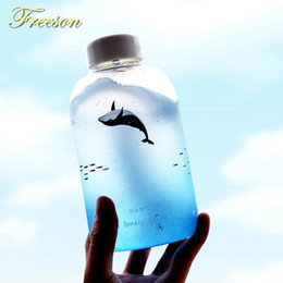 $enCountryForm.capitalKeyWord Australia - Creative Whale Gradient Color Glass Water Bottle Cute Ocean Animal Bottles 600ml Camping Sport Bottle Tour Drinkware Zakka Y19070303