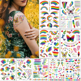 $enCountryForm.capitalKeyWord Australia - Rainbow Designs Temporary Tattoo Sticker Arm Face Forehead Body Art Decal Camouflage Tattoo for Kid Woman Butterfly Angel Rose Flowers Paint