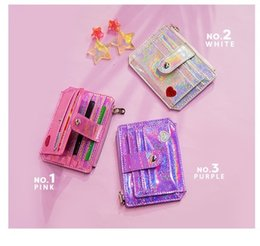 Promotional Cards Australia - Laser Coin Purse 3colors Promotional Credit Card Hold Bag Women Heart Coin Purse ID Card Cash PU Laser Wallet