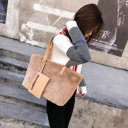 Discount fashion winter bag for women - 2019 New Autumn And Winter New Women's Bag Plush Women's Bags for Women Shoulder Bag Fashion Handbag Tide Gray