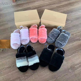 Black fur heel Boots online shopping - Women Furry Slippers Australia Fluff Yeah Slide Designercasual Shoes Boots Fashion Luxury Designer Women Sandals Fur Slides Slippers