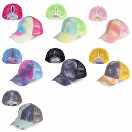 christmas visor Canada - Women Mesh Ponytail Baseball Caps Fashion Tie Dye Snapback Caps Sport Hat Adjustable Visor Cap ZZA2396 120Pcs