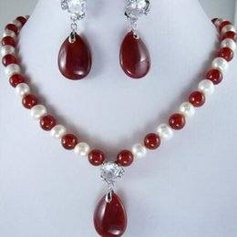 $enCountryForm.capitalKeyWord Australia - 2019 White Round Pearl And Red Drop gem Necklace Earrngs Set Fashion Beads Jewelry