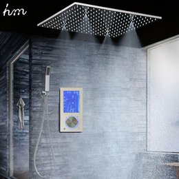 "digital shower sets Australia - Bathroom Shower Head with 3 Ways Intelligent Digital Concealed Faucet 20"" SPA Mist Rainfall Thermostatic Set Touch Panel Mixer 20170609"