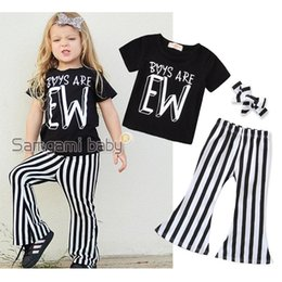 Girls Black White Shirts Australia - children's clothing baby girls 2019 new summer 2 piece set black letter T shirt + striped bell bottom pants children suit