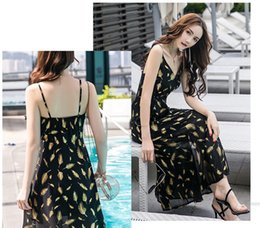Backless Feather Skirt Dress Australia - 2019 Summer Fashion Low Chest  Golden Feather Printed Long Skirt ca79536aaf0a