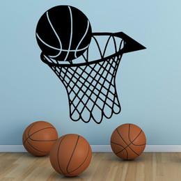 $enCountryForm.capitalKeyWord UK - Wall Art Sticker Basketball Sports Wall Decals Removable Vinyl Basketball And Net Wall Mural Kids Boys Room Decoration