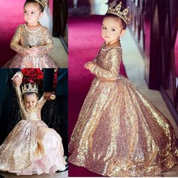Sequin Party Dresses For Girls Australia - Gold Sequin Toddler Ball Gowns Girls Pageant Dresses Jewel Long Sleeves 2018 Formal Kids Party Gown Flower Girl Dresses for Weddings