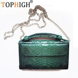 Discount multi body chain - TOPHIGH Luxury Cowhide Leather Clutch Shoulder Cross-body Bag Small Crocodile Pattern Genuine Leather Clutch Chain Women