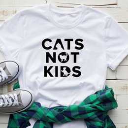 $enCountryForm.capitalKeyWord Australia - Cats Not Kids Letter Prints Kawaii Love Animals Tshirts Design Harajuku Women Summer T-shirts Casual 2019 Top Tees Drop Shipping