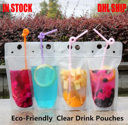 plastic stand up pouch 2020 - 24H ship DHL Clear Drink Pouches Bags frosted Zipper Stand-up Plastic Drinking Bag with straw with holder Reclosable Hea