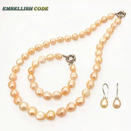 $enCountryForm.capitalKeyWord Australia - selling well necklace earring bracelet set small baroque pearls simple pink peach orange natural freshwater pearl elegant women