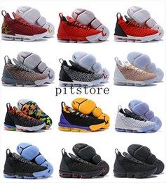 Lebron 16 Мужская обувь для баскетбола черный красный Джеймс 16 XVI законным дешевые тренеры Спорт дизайнер кроссовки Outlet